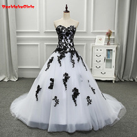 Backlakegirls Robe De Mariage Elegant White And Black Wedding Dresses 2017 Appliqued Sweetheart Bridal Gowns Tulle