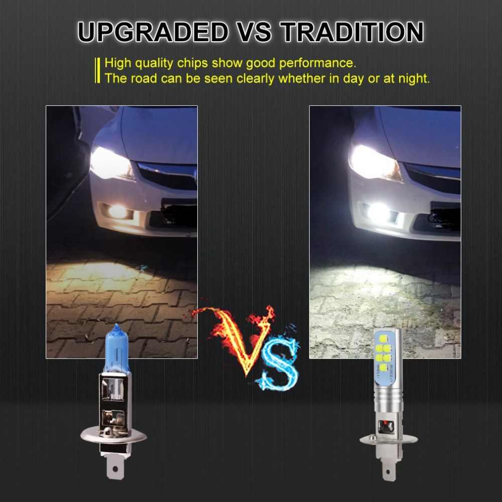 2 Pcs H1 LED נורות רכב נהיגה ערפל אורות 12 3535SMD סופר בהיר 1400LM 6000 K לבן תאורה גבוהה כוח h3 LED 12 V 24 V אוטומטי מנורה