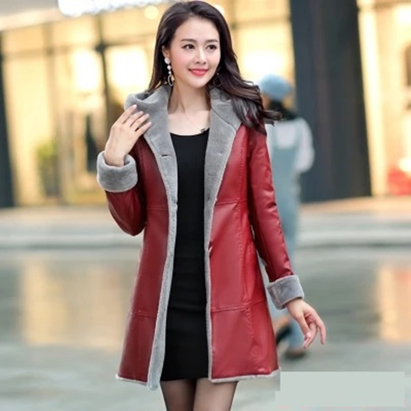 Women Winter   Leather   Coats Fur Together Medium Length Hooded Trench Plus Size Thicker Jackets Jaqueta Feminina Casaco Feminino