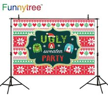 цена на Funnytree photography backdrops christmas snow winter Sweater Pattern red green love sweet party celebrate photo background
