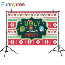 Funnytree photography backdrops christmas snow winter Sweater Pattern red green love sweet party celebrate photo background(China)