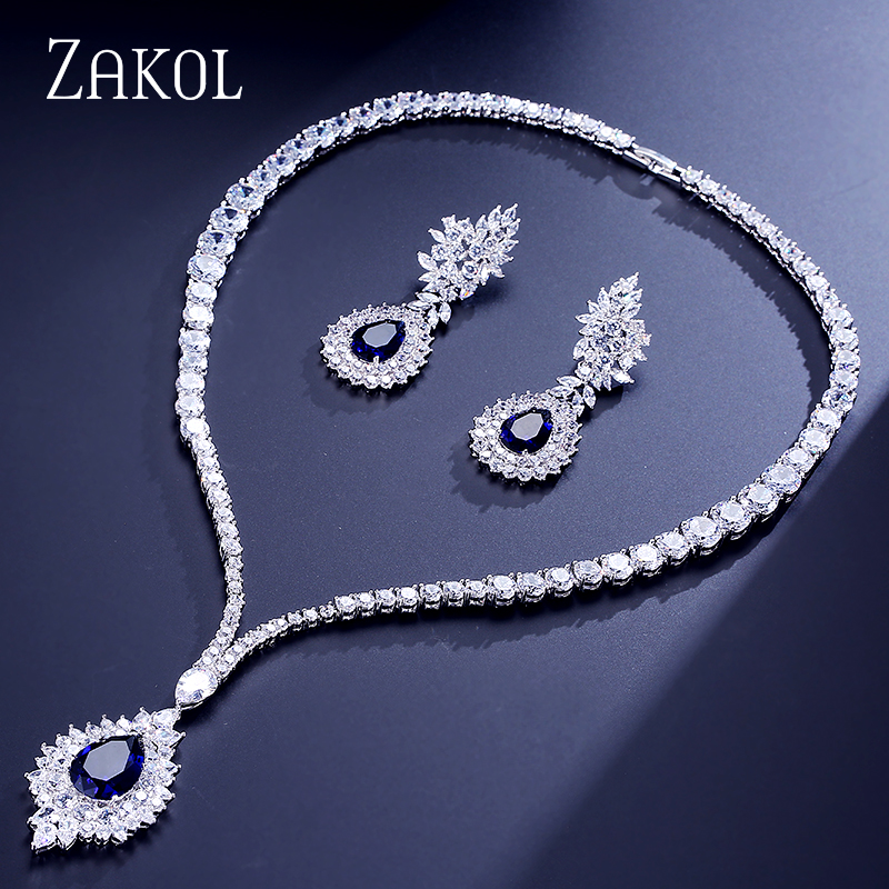 ZAKOL Vintage Micro Inlay Cubic Zirconia Blue Cluster Jewelry Set Sliver Color Necklace Earrings Set Women Gift FSSP308 vintage alloy rhinestone inlay embellished necklace earrings set