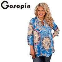 Gosopin African Print Women Tops Plus Size Long Sleeve Large Sizes Blusas Women T Shirt Femme