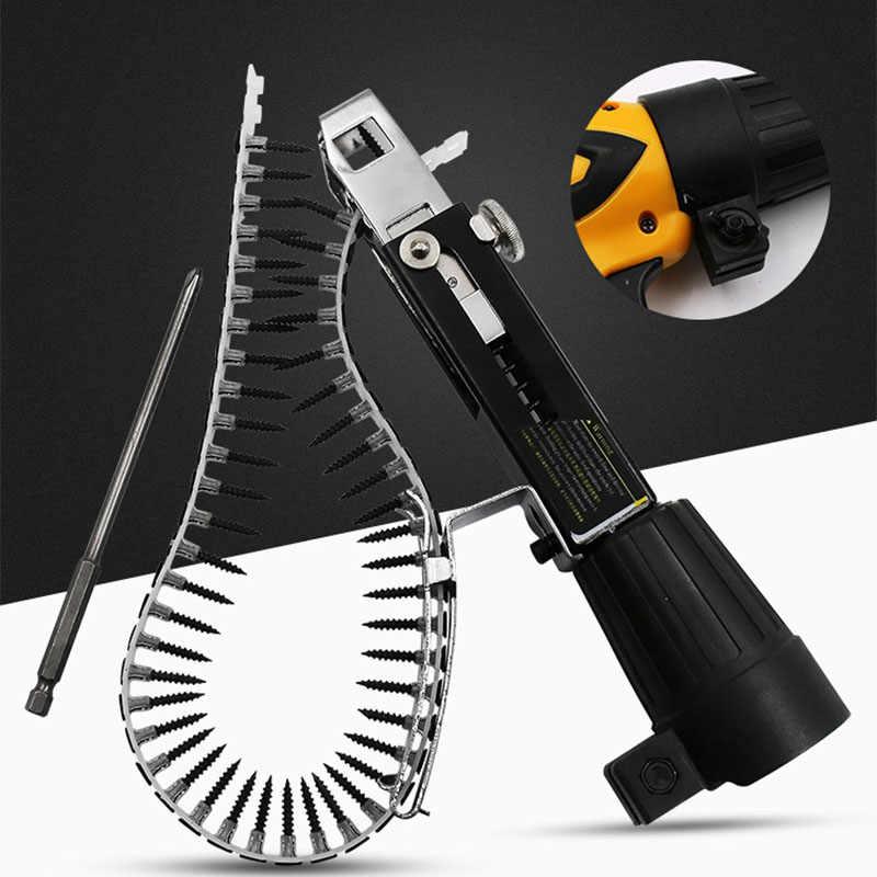 Łańcuch ze śrubą głowica pistoletu automatyczny pistolet do gwoździ elektryczny śrubokręt dekoracja drewna płyta gipsowo-kartonowa