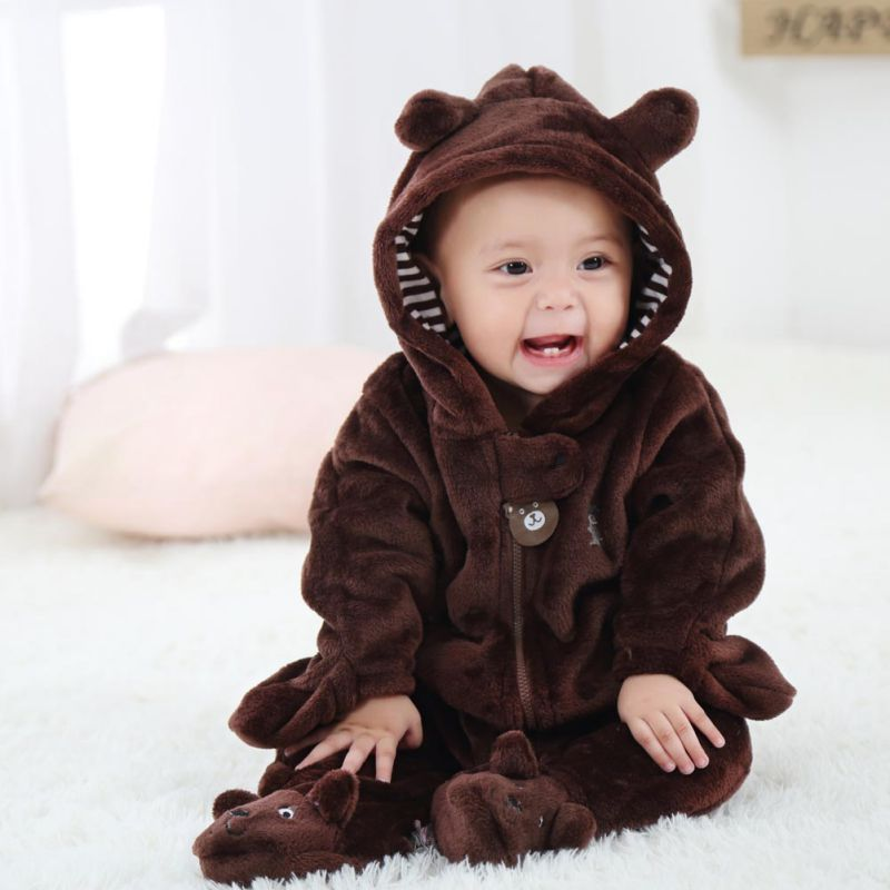 Cute Long Sleeve Winter Cotton Baby   Romper   Fleece Coverall Hooded Infant Jumpsuit Bear Snowsuit Babies Jumpsuits