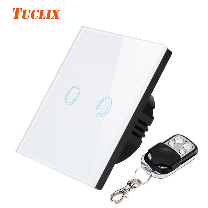 TUCLIX EU/UK Standard 2 Gang 1 Way Remote Control Touch Switch Remote Wall Light Switch With Cystal Glass Panel lace smart home luxury crystal glass 2 gang 1 way remote control wall light touch switch uk standard with remote controller