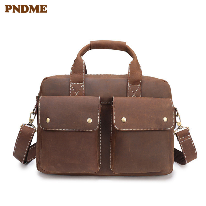 PNDME vintage business crazy horse leather men's briefcase genuine leather 14 inch laptop bag casual simple large messenger bags