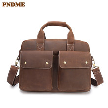 PNDME vintage business crazy horse leather men's briefcase genuine leather 14 inch laptop bag casual simple large messenger bags anaph unisex leather satchel briefcase crazy horse messenger bag casual crossbody bag attache 13 inch laptop case coffee
