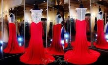 Robe De Soiree Red Chiffon Lange Abendkleider Kristall Nach Maß Vestido De Festa Longo Kleid Für Prom 2015 Heißer Verkauf Neue