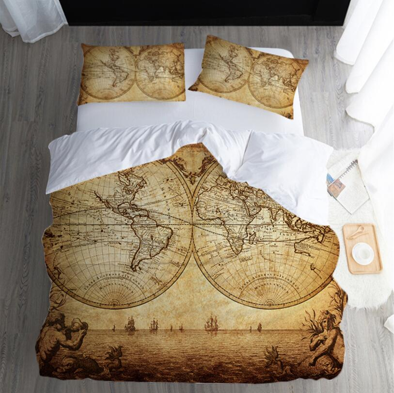 NEW 3pcs Vintage World Map Bedding Set Retro Bed Linens Double Twin King Queen Bedclothes with 1 Duvet Cover 2 Pillowcases
