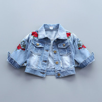 2017 New Spring Baby Jacket For Girl Red Rose Embroidery Coat For Girls Full Sleeve Toddler