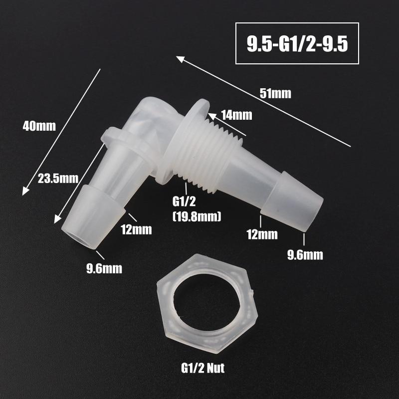 5pcs/lot M6 M8 G/18~G1/2 Thread To 2-12mm PP Pagoda Elbow Connectors Hex Nut Aquarium Fish Tank Air Pump Fittings Hose Joints