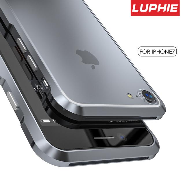 Original luphie de metal bumper case para iphone 7 cover de luxo aviação alumínio cnc quadro capa para iphone 7 plus