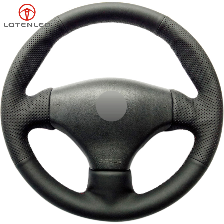 Lqtenleo Zwart Kunstleer Diy Auto Stuurhoes Voor Peugeot 206 1998-2005 206 Sw 2003-2005 206 Cc 2004 2005