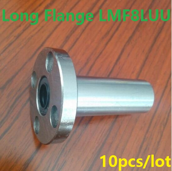 10pcs/lot LMF8LUU 8mm 8*15*45mm long type round Flange linear ball motion bearings bushing for CNC parts 8x15x45mm