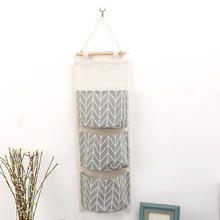 3 Pockets Hanging Storage Bag Wall Mounted Wardrobe Sundries cotton linen hanging organizer