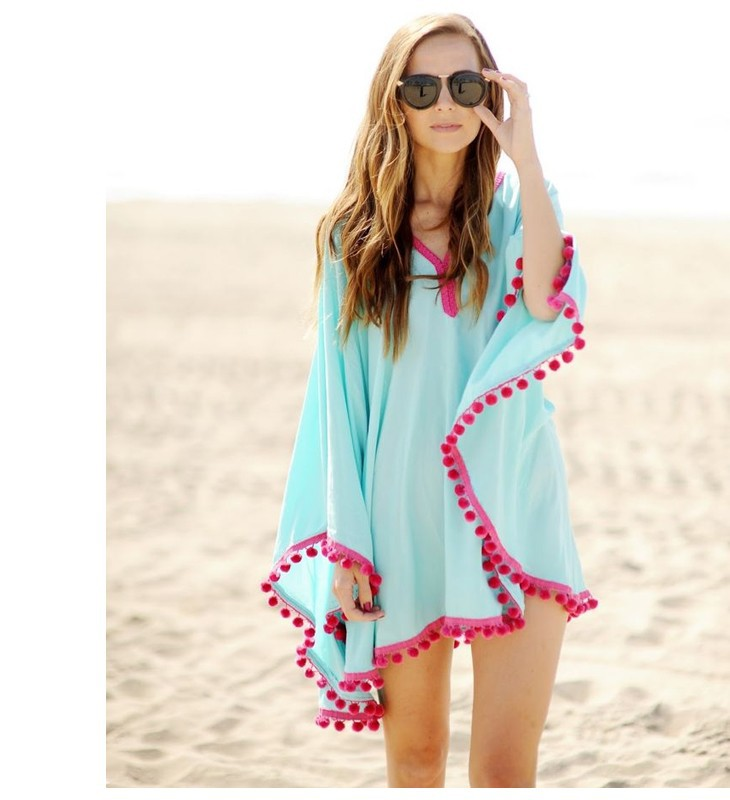 17 New Summer Women Pom Pom Trim Kaftan Beach Dress Lady Swimwear Bikini Cover-up Beach Tunic Wear for Girl 41150 2