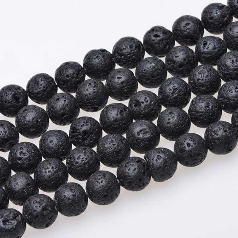 DIY Black Volcanic Lava Beads Lava Stone Beads Round Volcanic-Stone Wholesale Natural Stone Beads for Jewelry Making 4mm 6mm 8mm