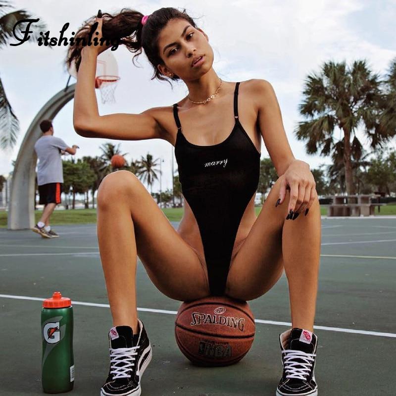 Fitshinling Cotton High Cut Summer Bodysuits Good Quality Letter Print Spaghetti Strap Black Bodysuit Women 2020 Body Jumpsuits