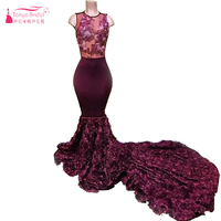 2018 New Burgundy Cascading Ruffles Flowers Mermaid Prom Dresses Sexy Illusion Jewel Black Girls Evening Gown Formal Wear ZP050