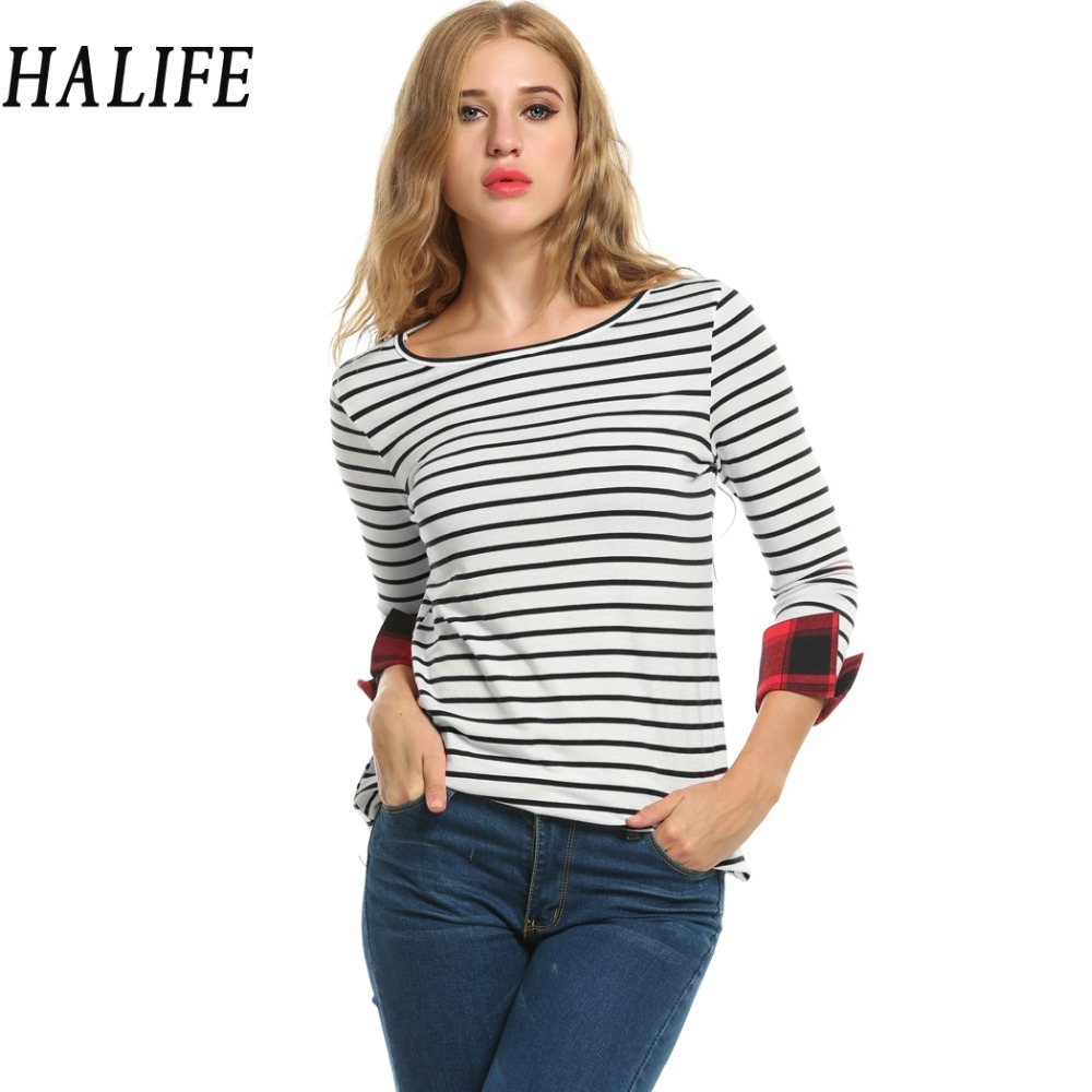 Black t shirt rolled up sleeves - Halife Yelow White Red Black Women T Shirt Long Sleeve Striped Casual O Neck Roll Up Slim Fit T Shirt Tops Tee Shirt Femme 230