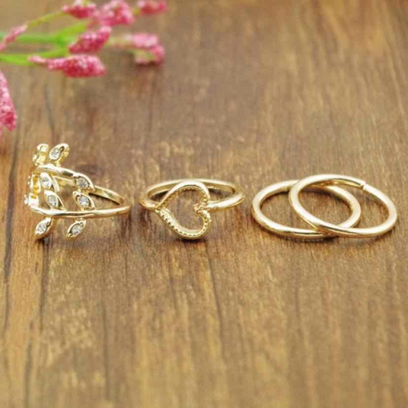 Moda Anéis de Ouro Folha Banhado Coração Joint Knuckle Anel de Unha Conjunto de Quatro Anéis Dos Namorados Presente Jóias Aneis Impecável anéis