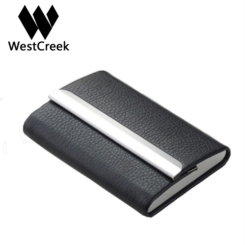 Westcreek Brand PU Leather High Quality Casual Stainless Steel Business Card Case Fashion High Capacity Card Holder elegant stainless steel pu leather business card storage case golden