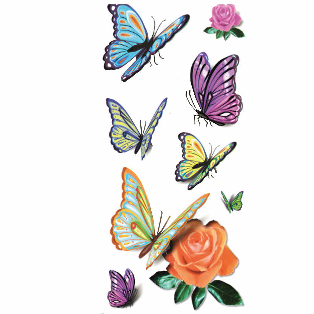 1pc Temporary Tattoo Sticker Waterproof 3D Butterfly Body Sternum Fake Tattoo Stickers Tatoo Tatuajes Temporales #h