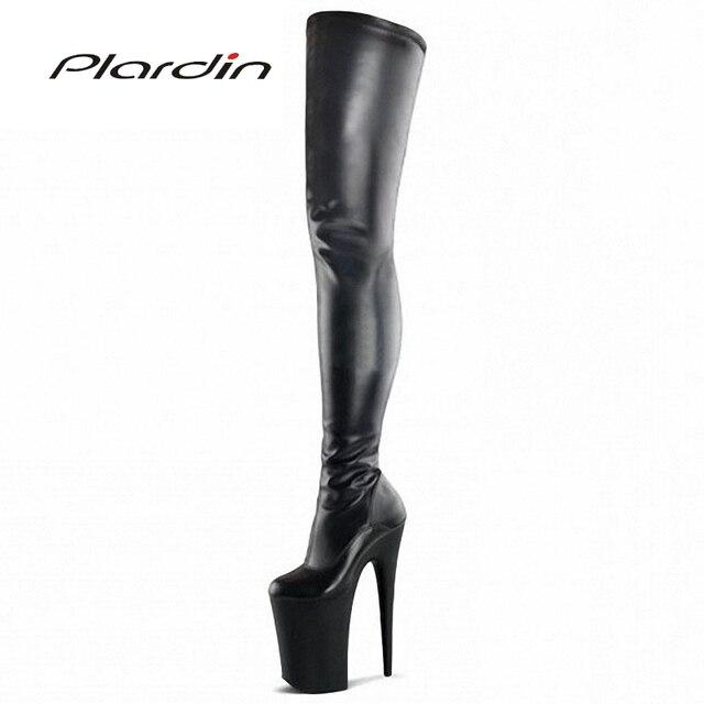 Plardin Plus Size 35-46 PU Sexy Concise Fashion 20CM High Heels 10CM Platform knee-high Nightclub Dance Party Pipe Dance Boots