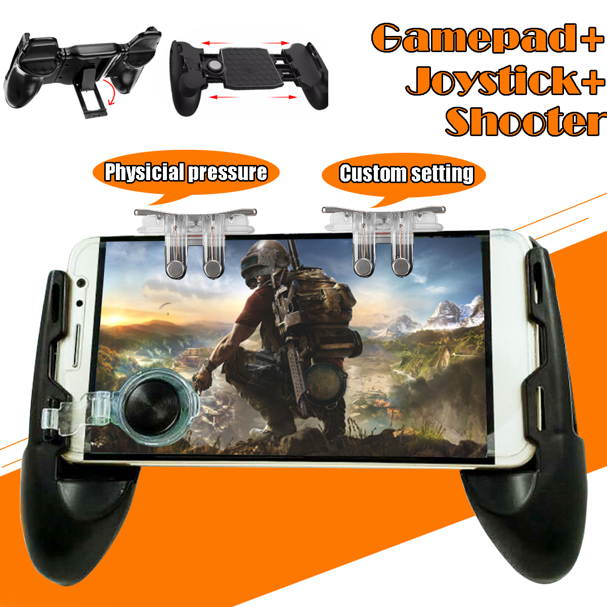 For PUBG Mobile Gamepad Joystick Gaming Trigger Six-finger Linkage L1R1