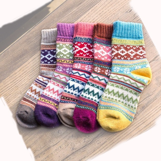 PEONFLY Winter Rabbit Wool funny Socks women Keep Warm Socks Woman Socks Thickening Thick Thread Socks 5pairs/lot