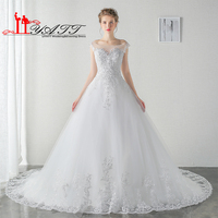 LIYATT Real Picture 2016 Cheap Vintage Beach Lace Arabic Beads Wedding Bridal Dress Vestido De Noiva