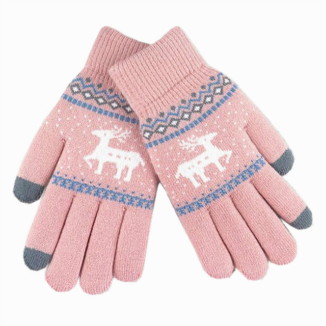 Women Knitted Full Fingers Touch Screen Gloves Winter Warm Thicken