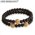 Anil Arjandas Beaded Bracelets Black Matte Onyx Bracelets Gold Color Micro Pave CZ Gold Ball Bracelets For Women Men's Bracelets
