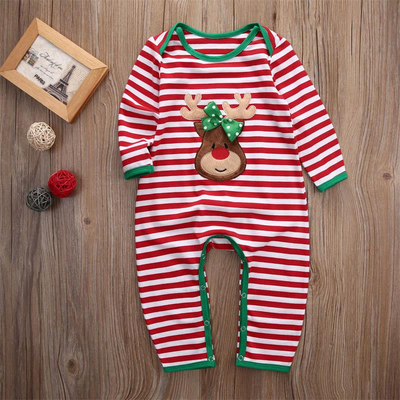 2018 Christmas Baby Girls Boys Clothes Newborn Infant baby Striped Romper Kids Christmas Costume Clothing 0-24M kids ruffle tie neck striped romper