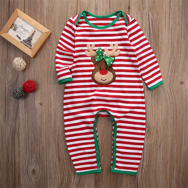2018 Christmas Baby Girls Boys Clothes Newborn Infant baby Striped Romper Kids Christmas Costume Clothing 0-24M