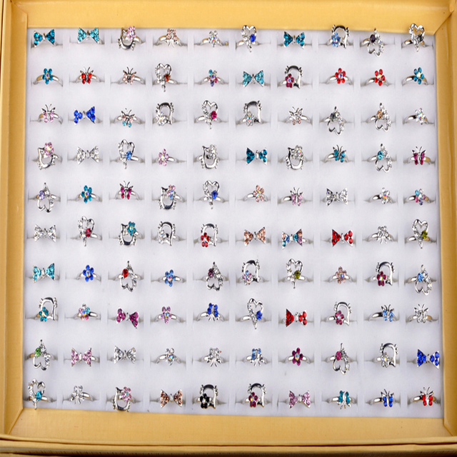 Wholesale Mix Lot 10pcs Kid Crystal Silver Rings for Girl Colorful Crystal Carto