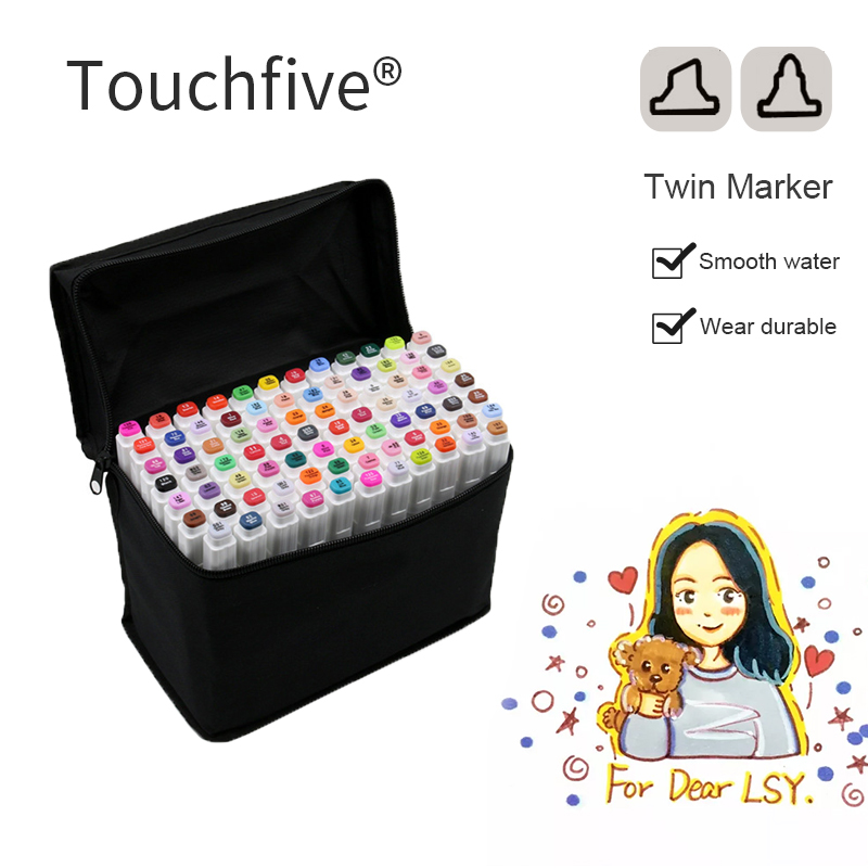 Touchfive 30/40/60/80 Color Markers Sketch Set For Manga Design Double Head Brush Pen For School Art Supplies touchfive 30 40 60 80 168colors pen marker set dual head sketch markers brush pen for draw manga animation design art supplies