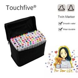Touchfive 30/40/60/80 Color Markers Sketch Set For Manga Design Double Head Brush Pen For School Art Supplies