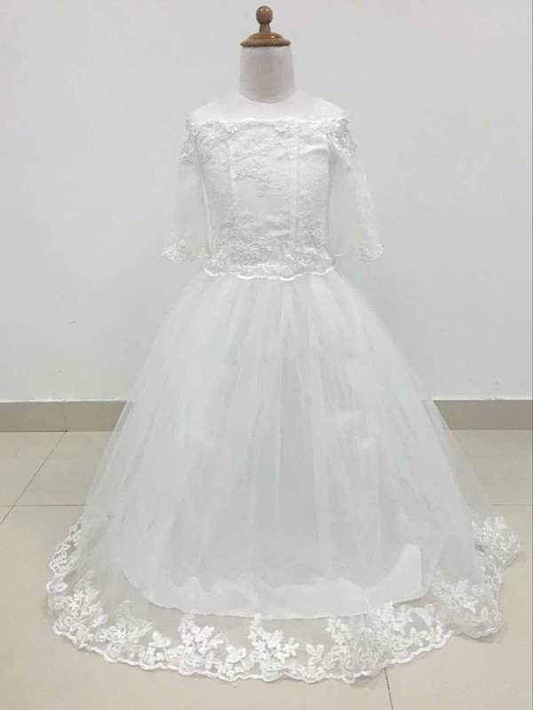 2017 Off Shoulder White Girls First Communion Dress Lace Applique Floor Length Tulle Flower Girl Dresses For Weddings