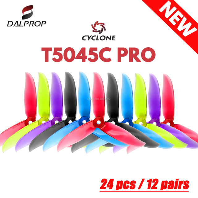 24 pcs / 12 pair DALPROP CYCLONE T5045C PRO 5045 3-Blade propeller for FPV Freestyle Drone Quadcopter Updated version Prop