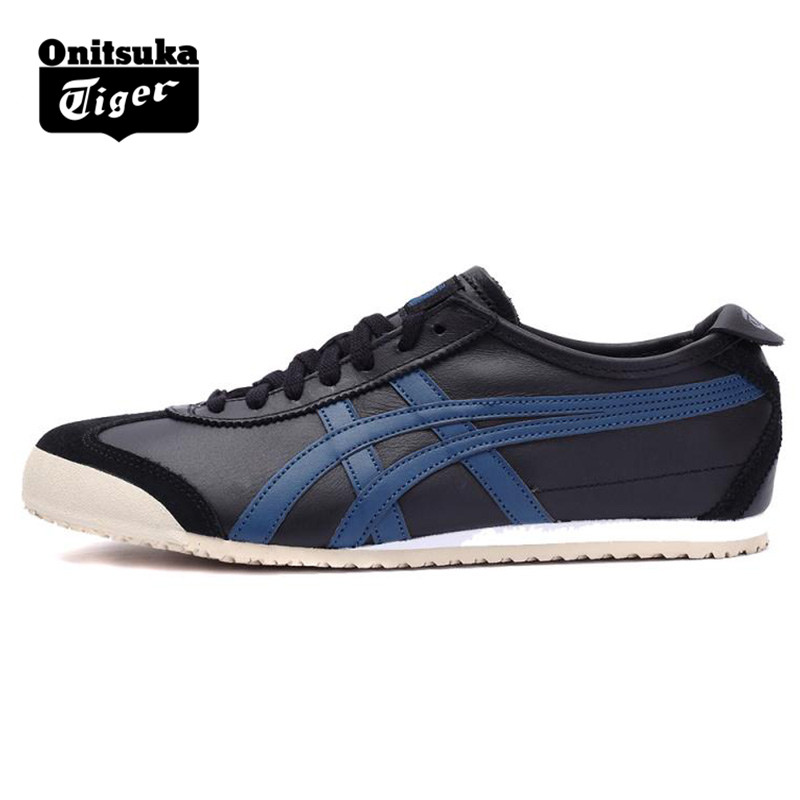 lowest price a131b f62fb US $62.4  2018 ONITSUKA TIGER MEXICO 66 Men Women Shoes Black blue Leather  Rubber Hard Wearing Street Low Sneakers Badminton Shoes-in Badminton Shoes  ...