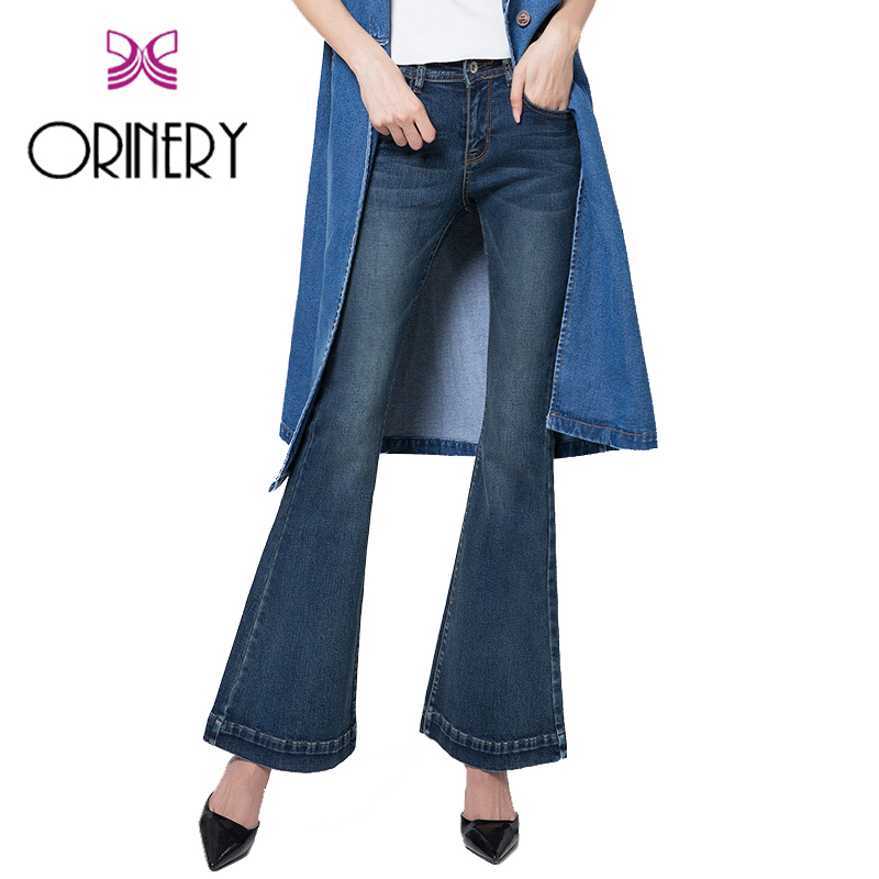 ФОТО ORINERY Hot Sale Solid Jeans Woman High Quality Fashion Flare Pants Denim Women Jeans 2017 New Designer Ankle-Length Trousers