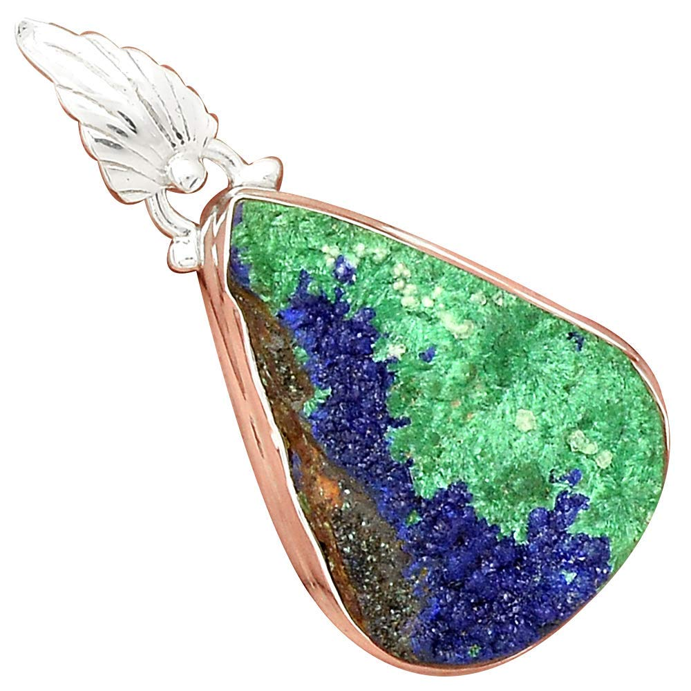 Nature AZURITE DRUZY Pendant 925 Sterling Silver, 43 mm, MHBAP5338Nature AZURITE DRUZY Pendant 925 Sterling Silver, 43 mm, MHBAP5338