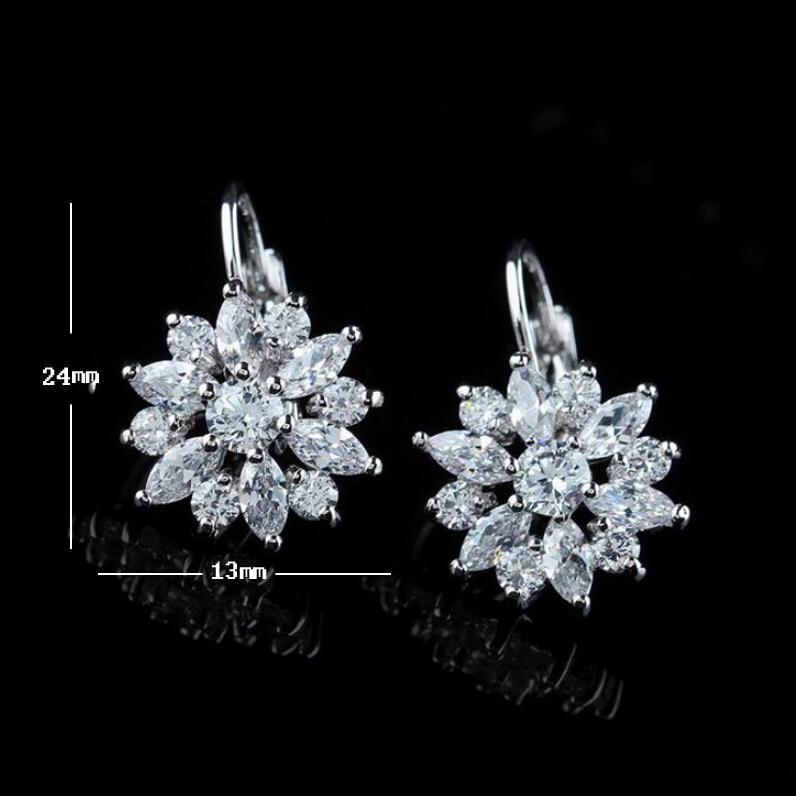 LOWAY Women Romantic Flower Design Cubic Zirconia Rose Gold Color Hoop Earrings Fashion Jewelry ED2883