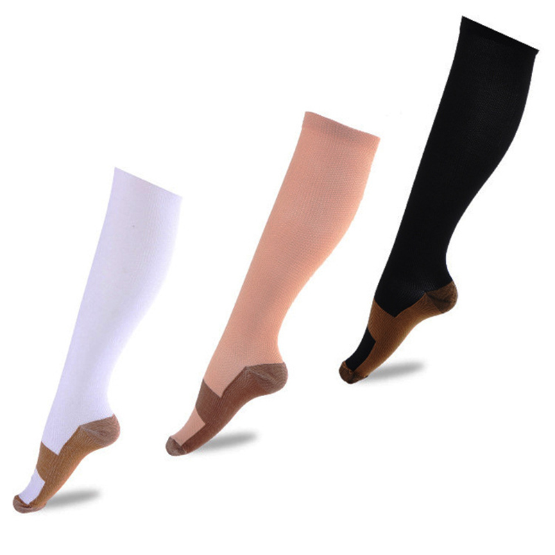 3 Pairs Copper Infused Compression Socks Anti-Fatigue For Outdoor Sport Adult FDC99