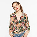 Women Clothing Vintage Blouse Shirt Fashion Floral Pattern Print Loose Long Sleeve Cotton Shirts Tops Female Tunic Retro Blusas