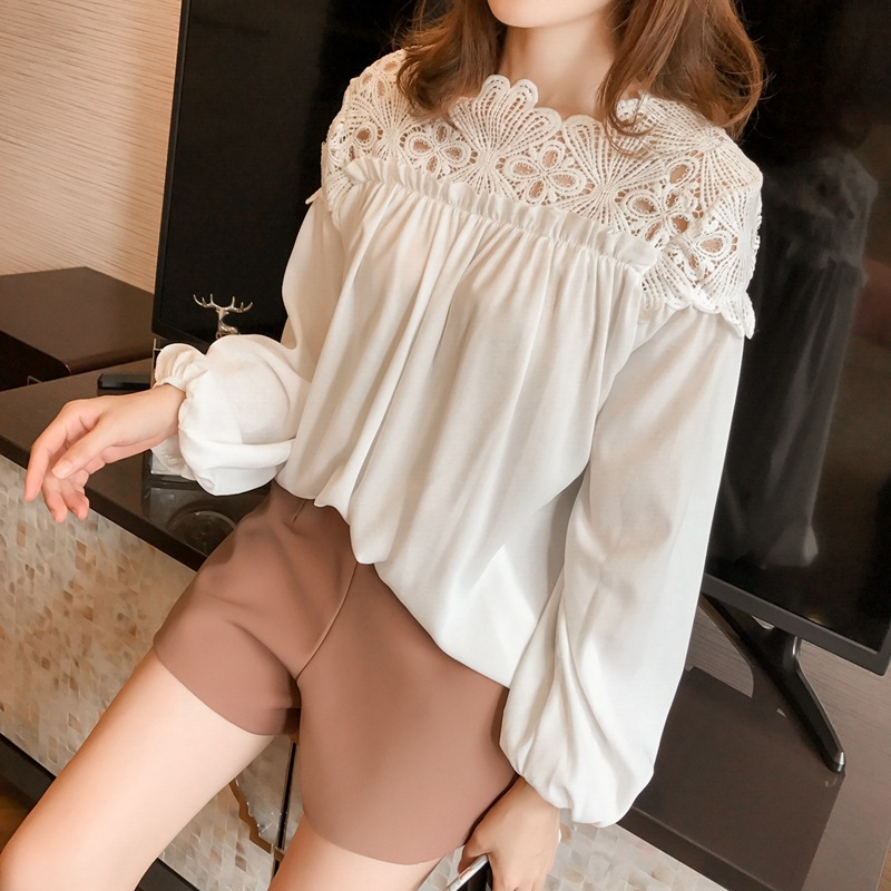 white woman blouses summer women's shirt blouse for women blusas womens tops and blouses lace chiffon shirts ladie's plus size 8
