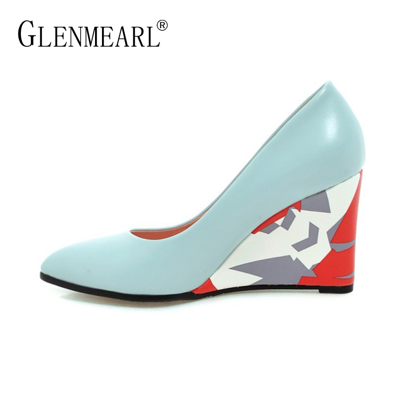 New Women Pumps High Heels Shoes Spring Brand Wedges Heels Pumps Woman Pointed Toe Thick Heel Dress Shoes Lady Single Black DE new women s high heels pumps square thick heel pointed toe genuine leather med high heel shoes for lady tide women shoes plus 42