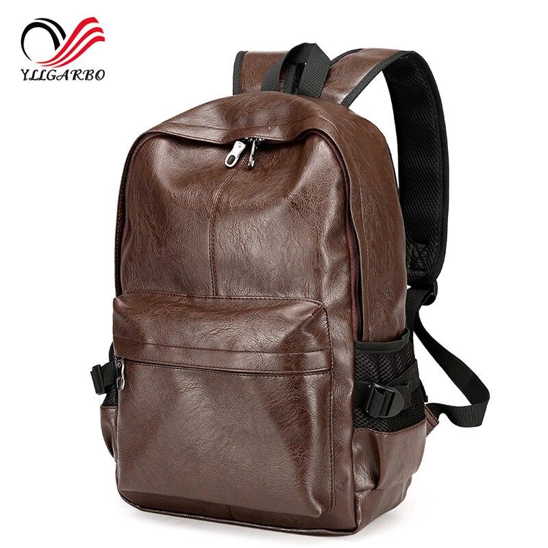 814bab263a73a الرجال pu براءات جلدية حقائب الرجال أكياس الأزياء حقيبة سفر كلية أسلوب  كمبيوتر محمول mochila الأنثوية packsack